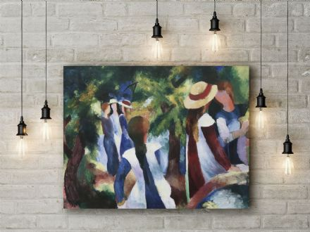 August Macke: Girls Under the Trees. Fine Art Canvas.